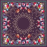 Unique bandana print or beautiful carpet  with floral ornament and peacocks. Indian, persian, russian motives Stock Image