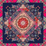 Unique bandana print. Lovely tablecloth with flower - mandala and bright ornament. Stock Photo