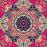 Unique bandana print. Lovely tablecloth with flower - mandala and bright ornament Stock Image