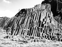 Unique basalt organ pipes of Panska skala near Kamenicky Senov in Northern Bohemia, Czech Republic Stock Images