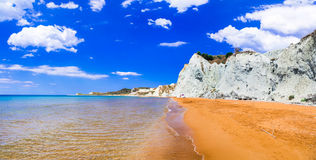 Unique beautiful Xi beach with orange sands in kefalonia island, Royalty Free Stock Photos