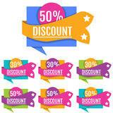 Unique big collection discount banners for market. Royalty Free Stock Image