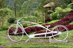 Unique bikes. In the flowering garden royalty free stock images