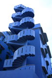 Unique Blue Spiral Stair. Way of an old apartment Stock Images