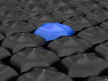 Unique blue umbrella Royalty Free Stock Photography