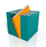 Unique Book. A collection of bright colored 3D books in a row with a unique orange book standing out from the line and a nice reflection placed on a white Stock Image