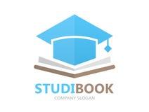 Unique book and student cap logo combination design template vector illustration