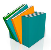 Unique Books. A collection of bright colored 3D books in a row with a unique books are standing out from the line and a nice reflection placed on a white Royalty Free Stock Photography