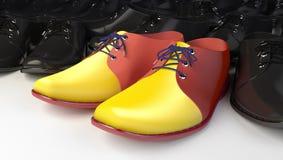 Unique boots. Unique yellow business boots among black shoes royalty free illustration