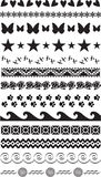 13 Unique Borders Dividers Black White. 13 decorative borders dividers bars in black and white vector format including butterfly, hearts, flowers, flying Stock Photos