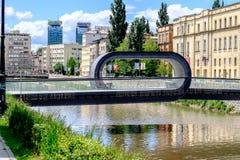 Unique bridge, Sarajevo, Bosnia and Herzegovina. Festina Lente Latin for `make haste slowly` bridge over the Miljacka river in Sarajevo - the funky loop design stock image