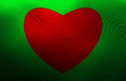 Red heart on green background. Wavy pattern on a picture. Vector. royalty free stock photos