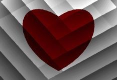 Red heart on grey background of stripes. Oil paint effect. Vector. stock images