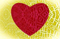 Red heart on yellow background. White ornament on the picture. Vector. royalty free stock images