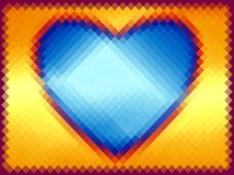 Abstract pattern. Blue heart on a yellow background. Pixel art. stock photos