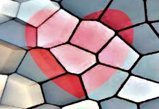 Abstract pattern. Red heart painting on stones. Unique bright illustration. Valentines day. Red, beige and grey colors image. Beautiful decoration. Checkered Royalty Free Stock Image