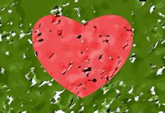 Abstract pattern. Red heart on a green background. Vector. royalty free stock photos