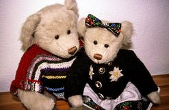 Unique - Brother and Sister - White Pair of Teddybears stock image