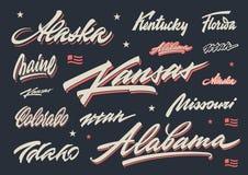 USA states brush lettering Stock Photo