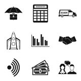 Unique business plan icons set, simple style. Unique business plan icons set. Simple set of 9 unique business plan vector icons for web isolated on white Royalty Free Stock Photo