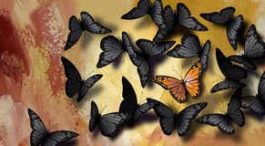Unique butterfly. An illustration of an unique butterfly in a crowd of black butterflies Stock Photo