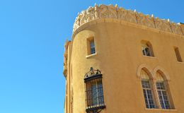 UNIQUE CARVED STONE ARCHITECTURE IN SANTA FE, NEW MEXICO. This interesting original historic building is in Santa Fe, New Mexico. It is the old town theater. It Stock Photo