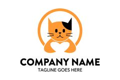 Unique cat, dog, pt, petshop logo template Royalty Free Stock Image