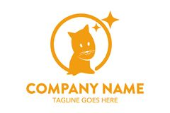 Unique cat, dog, pt, petshop logo template Royalty Free Stock Photo