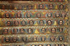 Unique ceiling paintings in Debre Birhan Selassie church, Gondar, Ethiopia.  Stock Image