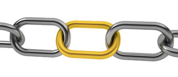 Unique chain. 3d render on white Royalty Free Stock Images