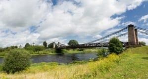 Unique Chain Bridge in the Island City. An unusual chain bridge in the city of Ostrov Stock Photos