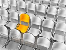 Unique Chair. An illustration of a unique yellow chair in rows of white chairs Royalty Free Stock Images