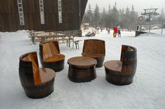 Unique chairs and table made of old wooden barrels Stock Image