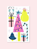 Unique Christmas Design. Unique handdrawn Christmas card template with Christmas tree, balls and snowman. Vector New Year card stock illustration