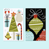 Unique Christmas Design. Unique handdrawn Christmas card template with Christmas tree, balls and snowman. Vector New Year card royalty free illustration