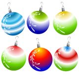 Unique Christmas Ornaments. A clip art illustration of a bunch of Christmas ornaments in festive gradient colors isolated on white Stock Images