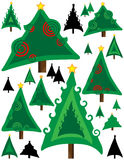 Unique Christmas trees in greens and silhouette Stock Photos