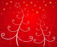 Unique Christmas Trees Red. A background illustration featuring white abstract Christmas trees set under gold stars on red background Royalty Free Stock Photography