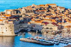 Unique city Dubrovnik in Europe, Croatia. Aerial scenic view at historic city Dubrovnik, famous travel place in Dalmatia region, Europe Stock Image