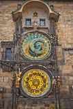 Unique clock on gothic tower in Prague Royalty Free Stock Images