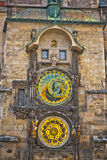 Unique clock on gothic tower in Prague Stock Photos