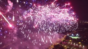 Great firework show in Moscow Russia near MSU Moscow State University. Beautiful colors from above. Unique close aerial view, flight inside, quadcopter drone
