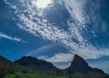 Surreal clouds along the Black Mountains in Arizona. Unique clouds above the Black Mountains near Oatman. Arizona stock photo