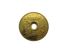 Unique coin with hole inside - isolated. Unique polish coin with hole inside - isolated royalty free stock photography
