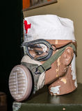 Unique collection of ex Soviet (USSR) gas masks.  Royalty Free Stock Photography