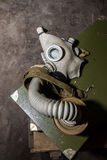 Unique collection of ex Soviet (USSR) gas masks.  Stock Image