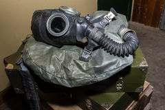 Unique collection of ex Soviet (USSR) gas masks.  Royalty Free Stock Photo