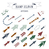 Unique collection of hand drawn arrows. Royalty Free Stock Photos
