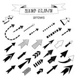 Unique collection of hand drawn arrows. Royalty Free Stock Photo
