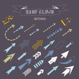 Unique collection of hand drawn arrows. Royalty Free Stock Image